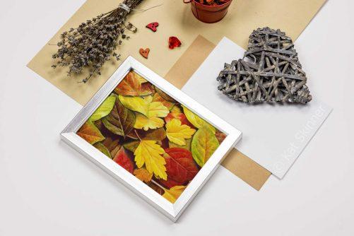 Autumn Leaves in Frame, Watercolor Art by Kat Skinner